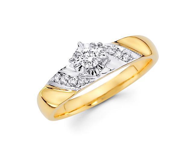Diamond Engagement Ring 14k Multi-Tone Gold Womens Bridal (1/5 Carat)