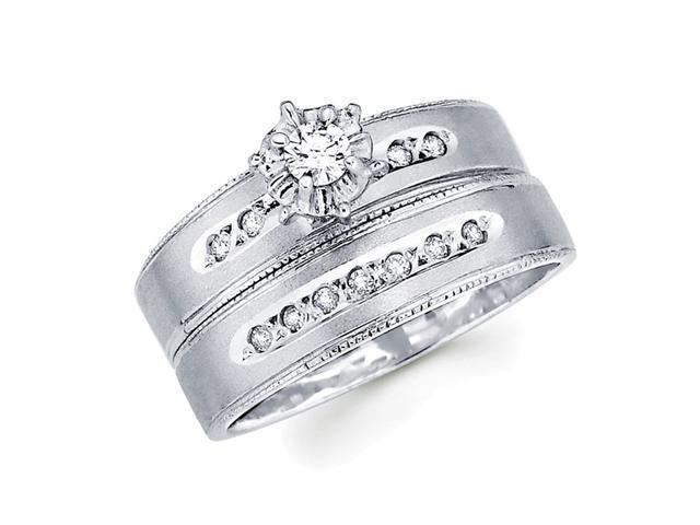 Diamond Engagement Rings Bridal Set 14k White Gold Wedding Band 1/5 CT