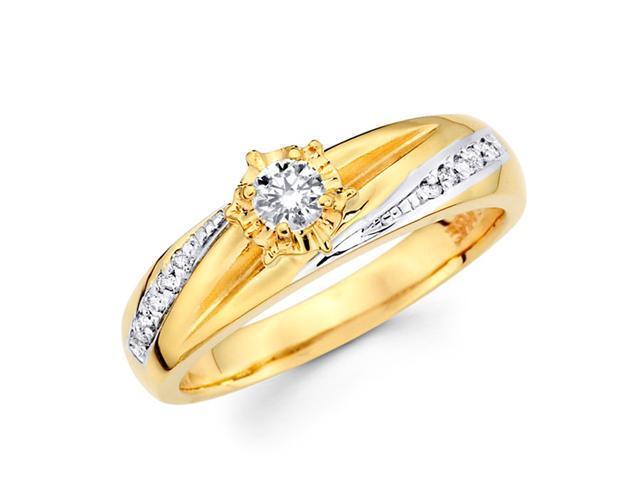 Diamond Ring Engagement 14k Multi-Tone Gold Womens Bridal (1/5 Carat)