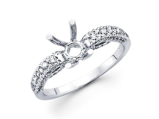 Semi Mount Pave Set Diamond Engagement Ring 18k White Gold (0.56 CTW)
