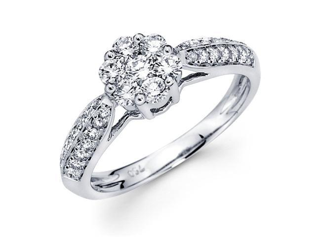 Diamond Engagement Ring 18k White Gold Anniversary Bridal (3/4 Carat)