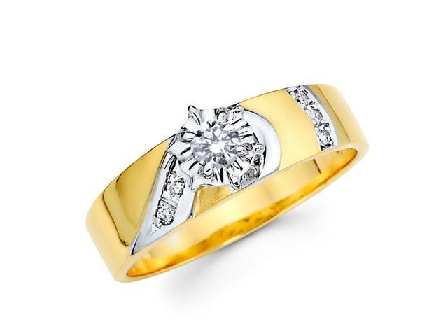 Engagement Diamond Ring 14k Multi-Tone Gold Womens Bridal (0.14 Carat)
