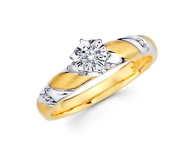 Diamond Engagement Ring 14k Multi-Tone Gold Womens Bridal (0.14 Carat)