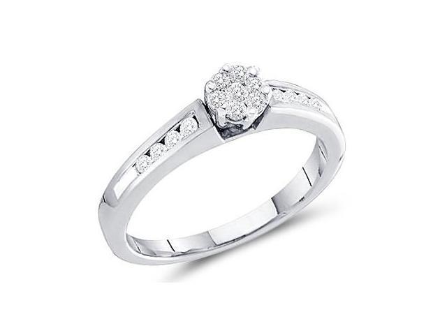 Engagement Diamond Ring Bridal Round Set 10k White Gold (1/4 Carat)