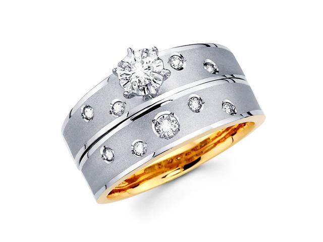 Diamond Engagement Rings Bridal Set 14k Multi-Tone Gold Wedding .29 CT