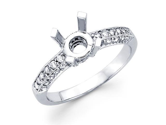 Semi Mount Pave Set Diamond Engagement Ring 18k White Gold (1/2 Carat)
