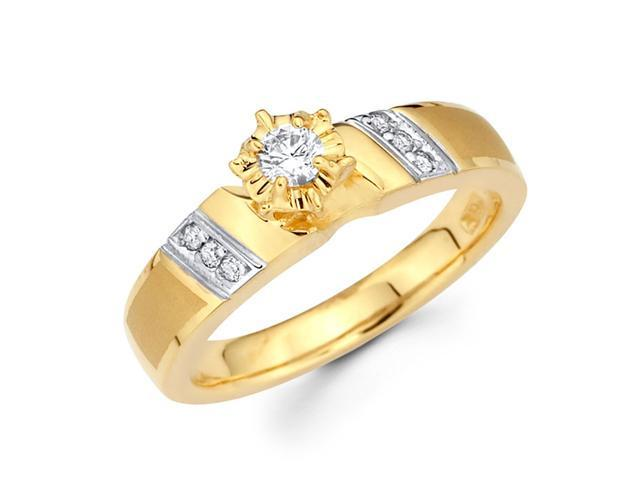 Diamond Engagement Ring 14k Multi-Tone Gold Womens Bridal (0.17 Carat)