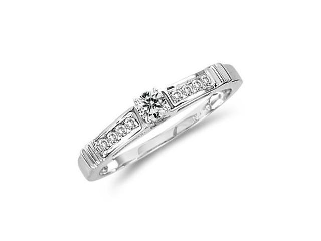 Diamond Engagement Ring 14k White Gold Bridal Anniversary (1/4 Carat)