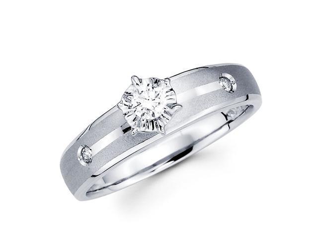 Engagement Diamond Ring 14k White Gold Bridal Womens (0.13 Carat)