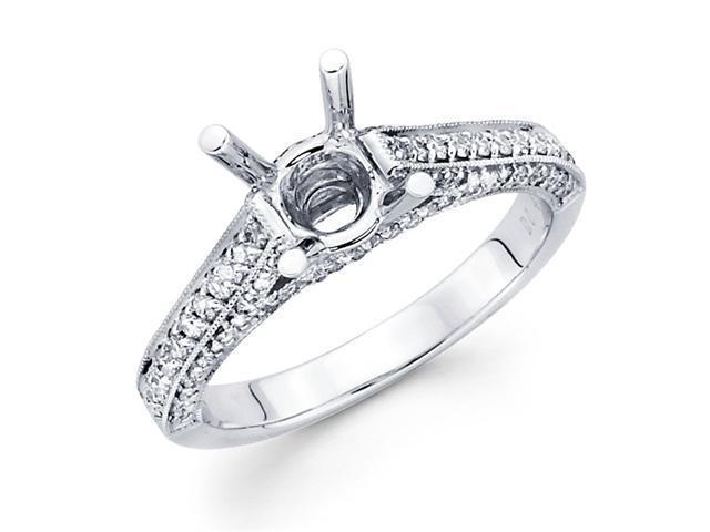 Semi Mount Round Diamond Engagement Ring 18k White Gold (0.42 Carat)