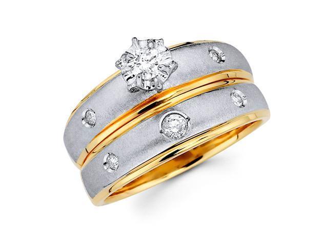 Diamond Engagement Rings Bridal 14k Multi-Tone Gold Wedding (1/4 CTW)