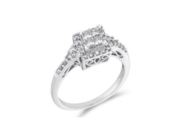 Princess Diamond Engagement Ring 14k White Gold Anniversary (1/2 CTW)