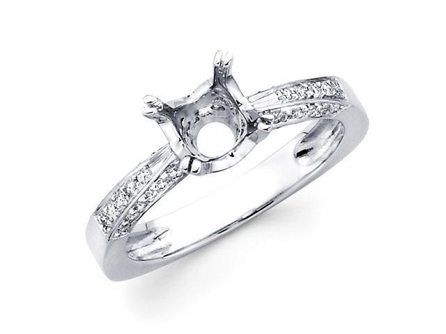 Semi Mount Pave Set Diamond Engagement Ring 18k White Gold (1/3 Carat)