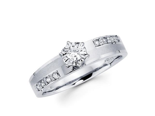 Diamond Engagement Ring 14k White Gold Bridal Womens (1/5 Carat)