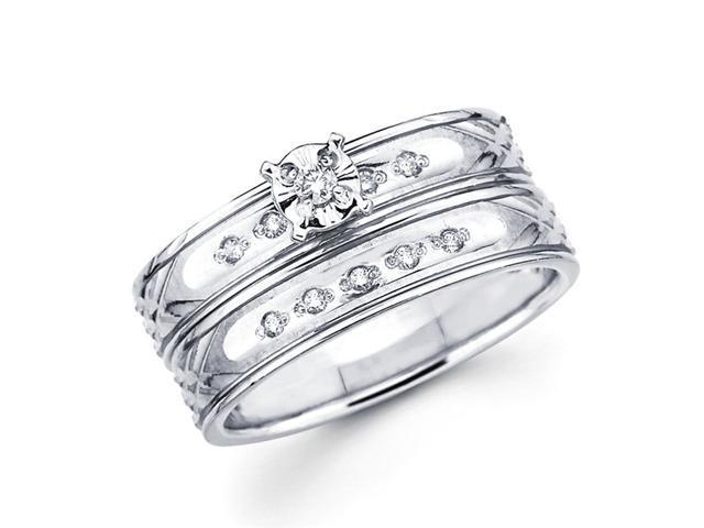 Diamond Engagement Rings Bridal Set 14k White Gold Wedding Band .13 CT
