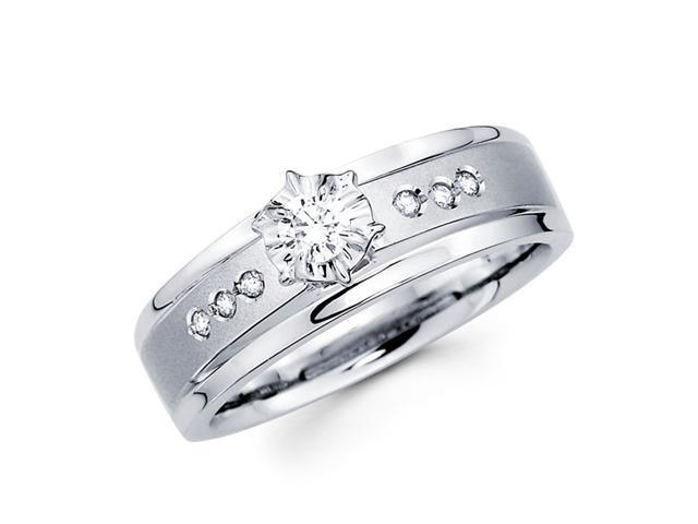 Diamond Ring Engagement Womens Bridal 14k White Gold (0.15 Carat)
