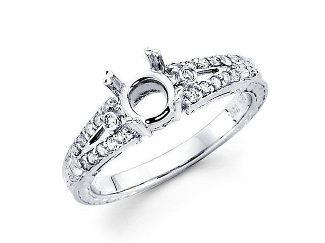 Diamond Engagement Ring Setting with Sidestones 18k White Gold (1/4ct)