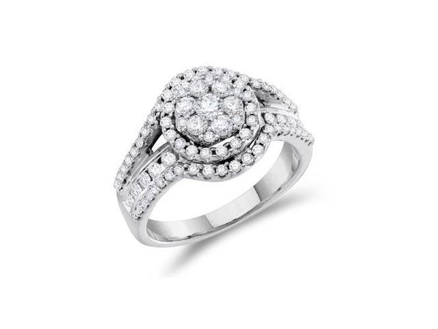 Diamond Engagement Ring 14k White Gold Solitaire Cluster (1.00 Carat)