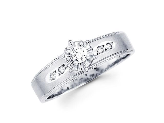 Diamond Engagement Ring 14k White Gold Womens Bridal (0.14 Carat)