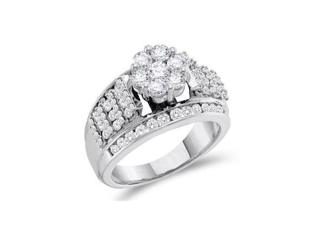 Diamond Engagement Ring 14k White Gold Solitaire Cluster (1.50 Carat)