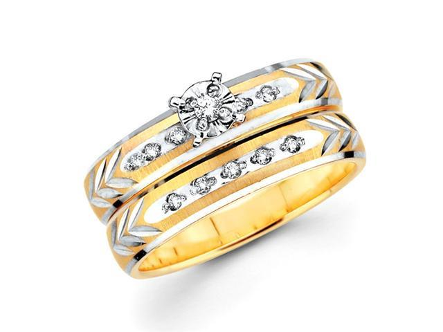 Diamond Engagement Rings Bridal Set 14k Multi-Tone Gold Wedding .13 CT