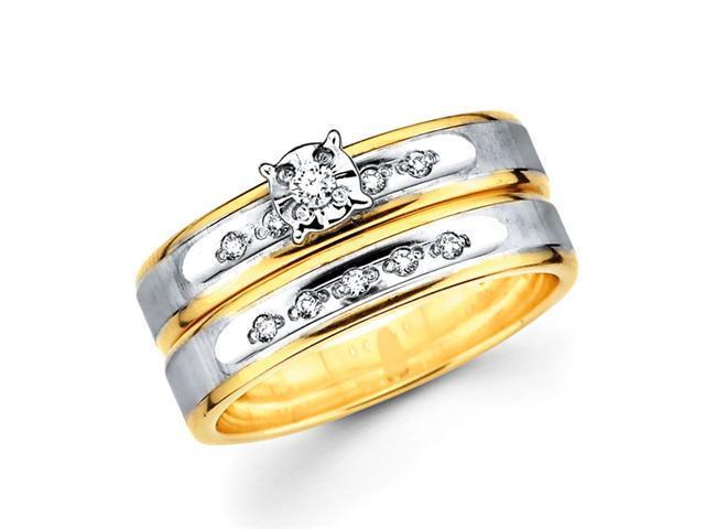 Diamond Engagement Rings Set 14k Multi-Tone Gold Wedding Band .13 CT