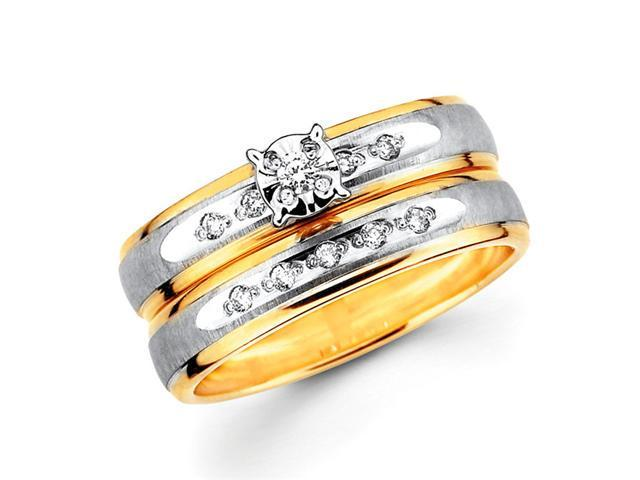 Diamond Engagement Rings Bridal 14k Multi-Tone Gold Wedding (0.13 CTW)