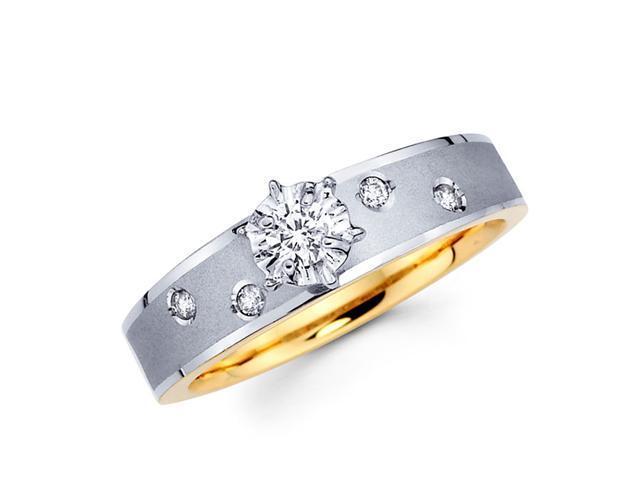 Engagement Diamond Ring 14k Multi-Tone Gold Bridal Womens (0.16 Carat)