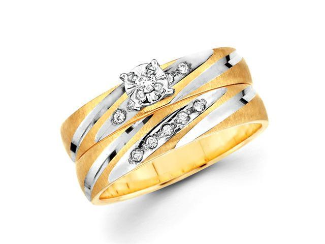 Diamond Engagement Rings Bridal Set 14k Multi-Tone Gold Wedding .13ctw