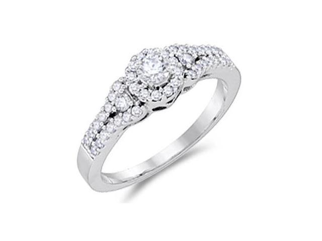 Diamond Engagement Ring 14k White Gold Bridal Anniversary (1/2 Carat)