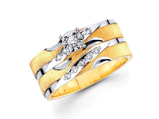 Diamond Engagement Rings Bridal 14k Multi-Tone Gold Wedding Band .13ct