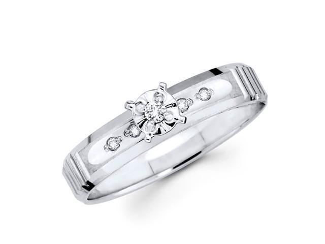 Diamond Engagement Ring 14k White Gold Bridal Womens (0.08 Carat)