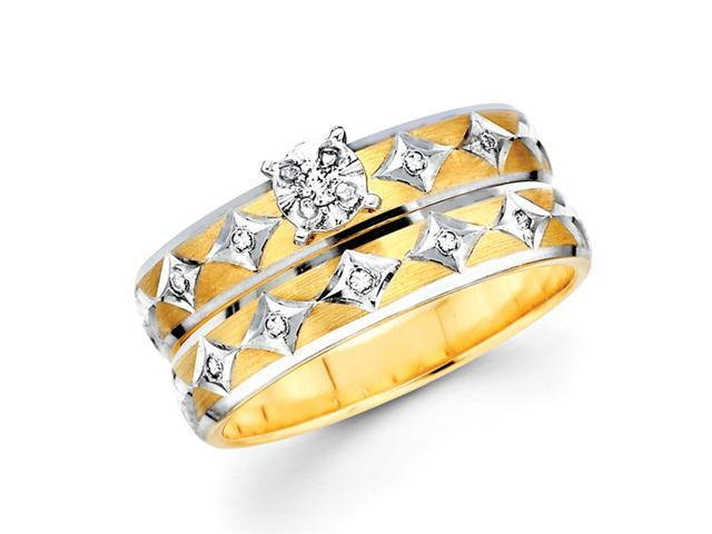 Diamond Engagement Rings Bridal Set Wedding 14k Multi-Tone Gold .13 CT