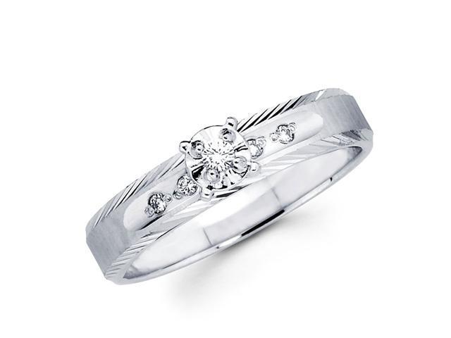 Diamond Engagement Ring 14k White Gold Womens Bridal (0.08 Carat)