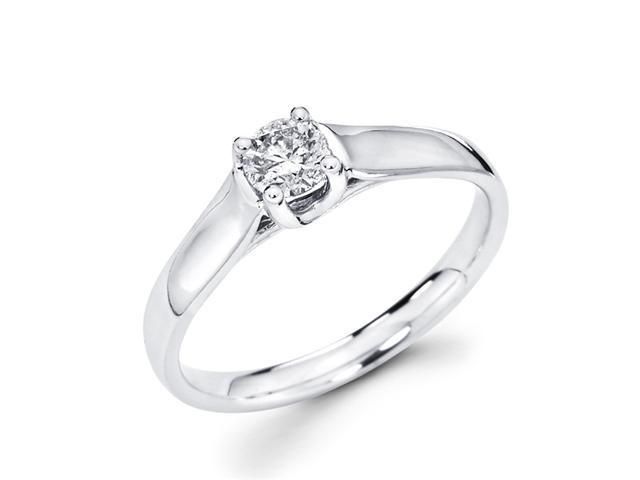 Round Solitaire Diamond Engagement Ring 14k White Gold (1/3 Carat)