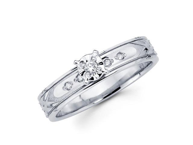 Engagement Diamond Ring 14k White Gold Bridal Womens (0.08 Carat)