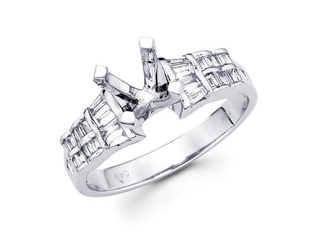 Semi Mount Baguette Diamond Engagement Ring 18k White Gold (1/2 Carat)