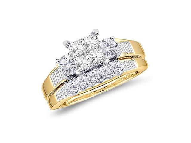 Princess Diamond Engagement Ring & Wedding Set 10k Yellow Gold (1 CT)