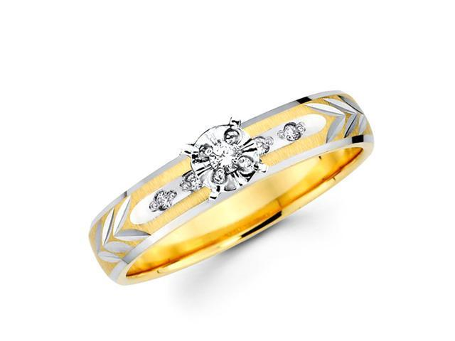 Womens Diamond Engagement Ring 14k Multi-Tone Gold Bridal (0.08 Carat)