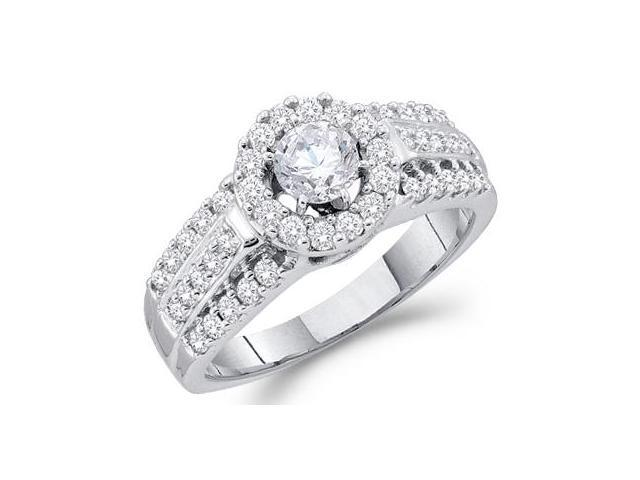 Diamond Engagement Ring 14k White Gold Round Bridal (1.00 Carat)
