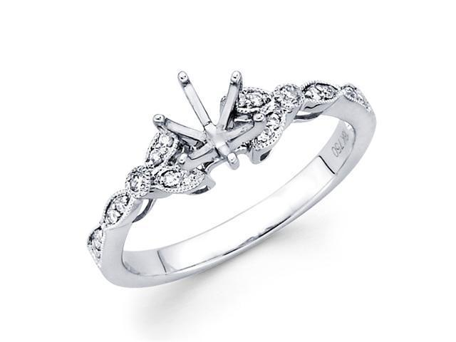 Semi Mount Pave Set Diamond Engagement Ring 18k White Gold (1/8 Carat)