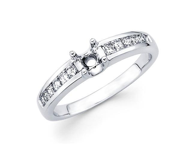 Semi Mount Princess Diamond Engagement Ring 18k White Gold (1/3 Carat)