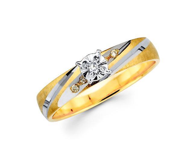 Diamond Ring Engagement 14k Multi-Tone Gold Womens Bridal (0.08 Carat)