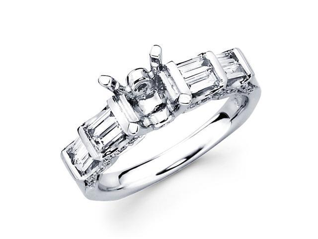 Semi Mount Diamond Engagement Ring 18k White Gold Round Baguette Set