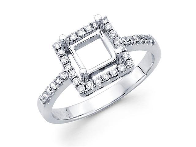 Setting with Sidestones Diamond Engagement Ring 18k White Gold (1/5ct)