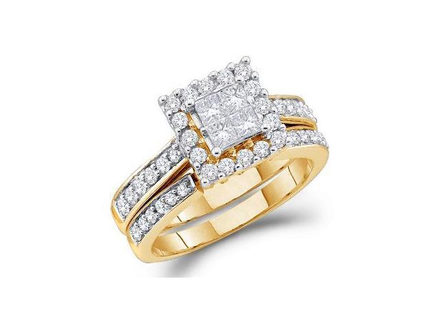 Princess Diamond Engagement Ring & Wedding Band 14k Yellow Gold (1 CT)