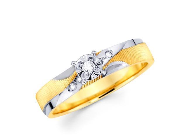 Engagement Diamond Ring 14k Multi-Tone Gold Womens Bridal (0.08 Carat)