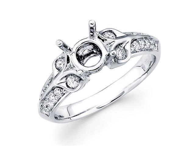 Semi Mount Round Diamond Engagement Ring 18k White Gold Pave Setting