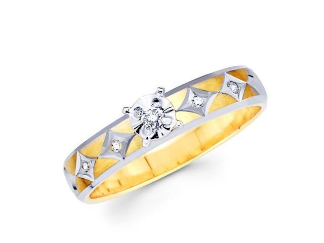 Diamond Engagement Ring 14k Multi-Tone Gold Bridal Ladies (0.08 Carat)