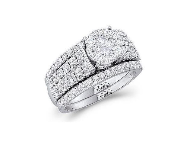 Diamond Engagement Ring and Wedding Band Bridal Set White Gold 1.51ct